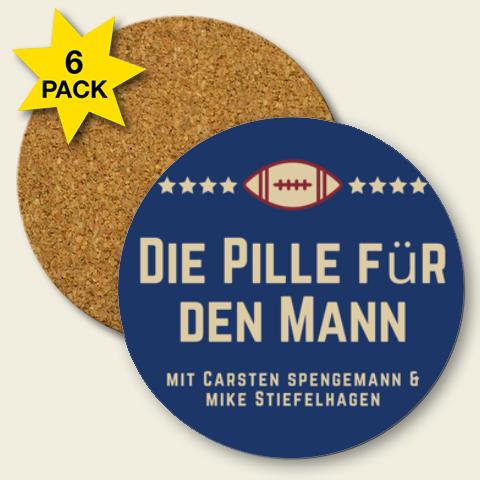 Kork Untersetzer Set 'Die Pille für den Mann' Logo